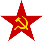 hammer and sickle on red star